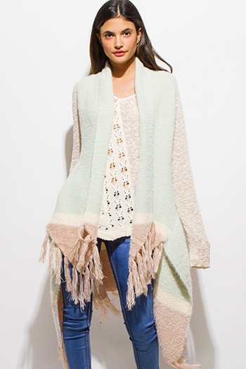 $20 - Cute cheap lace boho fringe romper - light mint green color block fringe trim open front fuzzy sweater knit boho duster cardigan vest top