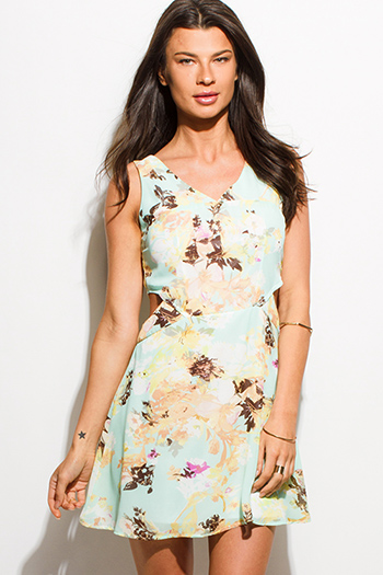 $15 - Cute cheap cut out peplum dress - light mint green floral print cut out sleeveless boho skater mini dress