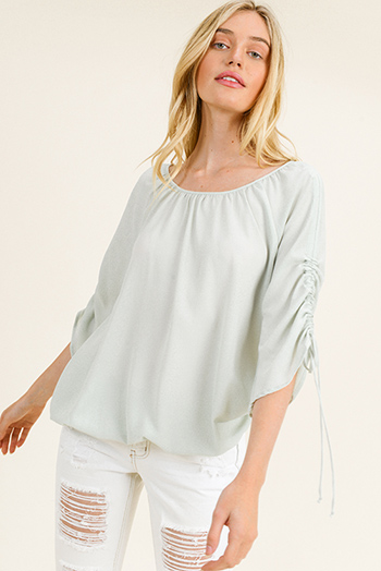$15 - Cute cheap green cotton blouse - Light mint green round neck ruched quarter sleeve boho blouse top