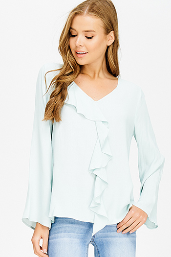 $10 - Cute cheap light blue semi sheer stripe mesh fitted zip up jacket top - light mint green v neck cascading ruffle trim long bell sleeve boho blouse top