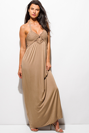 $15 - Cute cheap print ruffle sun dress - light mocha beige rayon jersey woven halter backless layered boho maxi sun dress