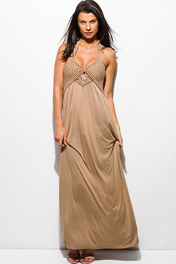 $20 - Cute cheap strapless formal sun dress - light mocha beige rayon jersey woven halter backless layered boho maxi sun dress