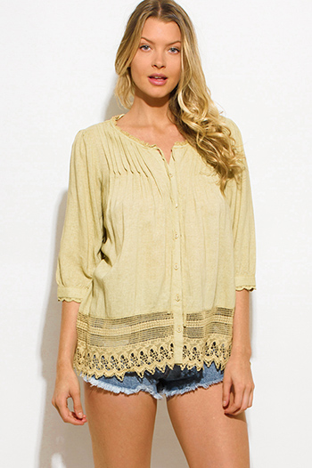 $15 - Cute cheap lace slit blouse - light mustard yellow pleated crochet lace trim quarter sleeve boho peasant blouse top