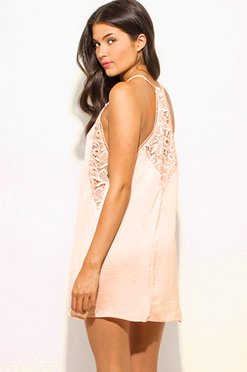 $10 - Cute cheap draped open back dress - light peach crinkle satin v neck crochet lace cut out spaghetti strap racer back cocktail sexy party shift slip mini dress