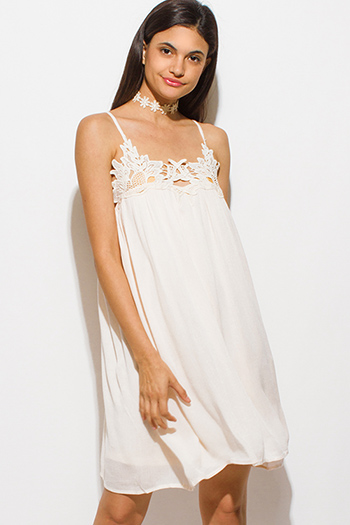 $15 - Cute cheap white eyelet embroidered long sleeve scallop hem boho shift mini swing dress - light peach crochet applique spaghetti strap cut out back boho sexy party mini sun dress