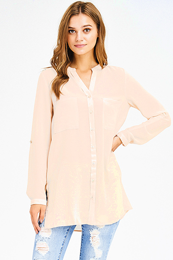 $15 - Cute cheap blouson sleeve top - light peach long sleeve indian collar button up boho gauzey tunic blouse top