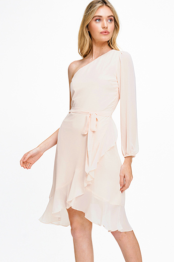 $25 - Cute cheap print sheer sexy party blouse - Light peach pink chiffon one shoulder long sleeve belted ruffled cocktail party midi dress