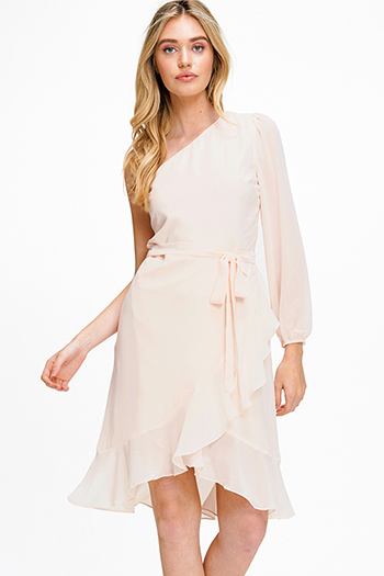 $12 - Cute cheap print sexy club dress - Light peach pink chiffon one shoulder long sleeve belted ruffled cocktail party midi dress