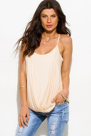 $10 - Cute cheap peach pink draped low cowl neck quarter sleeve knit tunic top - light peach pink draped twisted front racer back boho tank top