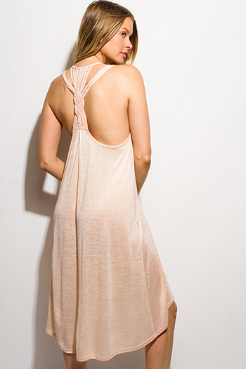 $15 - Cute cheap black open back evening dress - light peach pink gauze high low hem braided scoop racer back beach cover up midi dress