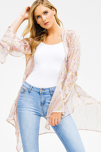 $15 - Cute cheap blue pinstripe rose patch ruffle tiered strapless boho tunic top - light pink sheer chiffon floral print trumpet bell sleeve boho waterfall kimono top