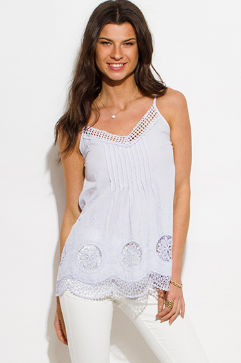 $15 - Cute cheap light gray cut out caged fringe trim spaghetti strap boho swing tank top - light lilac purple cotton crochet embroidered scallop hem boho tank top