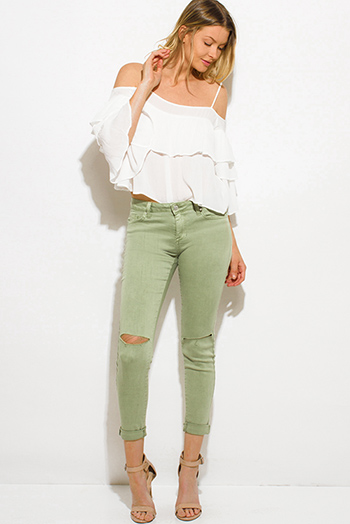 $20 - Cute cheap clothes - light sage green denim mid rise ripped knee cropped ankle skinny fit jeans