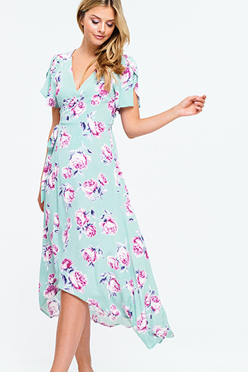 $30 - Cute cheap open back wrap jumpsuit - Light sage green floral print short petal sleeve high low boho maxi wrap sun dress