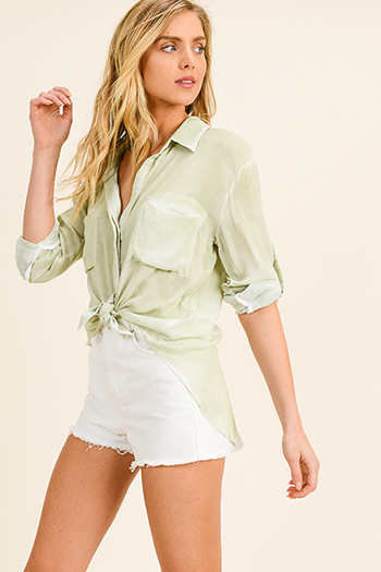 $15 - Cute cheap green pocketed jacket - Light sage green rayon gauze back slit summer boho button up blouse top