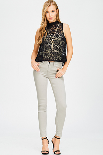 $20 - Cute cheap black denim skinny jeans - light sage grey mid rise pocketed skinny jean leggings
