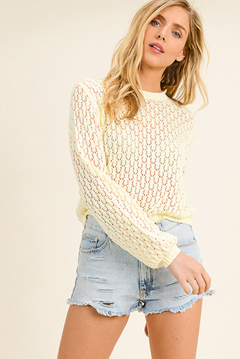 $15 - Cute cheap long sleeve sexy club top - Light yellow knit long bubble sleeve boho cropped sweater top