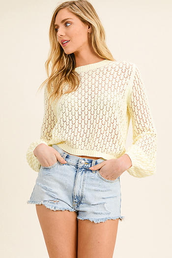 $15 - Cute cheap pink navy multicolor plaid cotton gauze long sleeve button up blouse top - Light yellow knit long bubble sleeve boho cropped sweater top