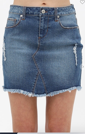 $15.75 - Cute cheap lightly washed denim skirt, distressing and frayed bottom hem.