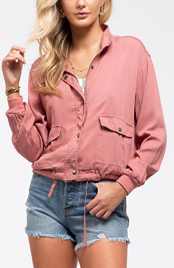 $25.50 - Cute cheap plum wine tencel long sleeve drawstring waisted button up zip up hooded anorak trench coat jacket - Lightweight jacket Snap button collar Long ruched sleeves banded cuffs