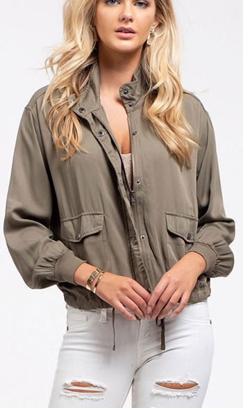 $22.50 - Cute cheap olive green long sleeve button up belted tapered leg coverall cargo utility jumpsuit - Lightweight jacket Snap button collar Long ruched sleeves banded cuffs