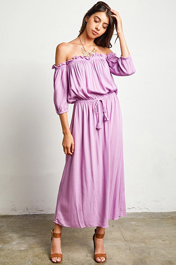 $30 - Cute cheap floral pocketed dress - lilac purple off shoulder quarter sleeve waist tie boho maxi evening sun dress
