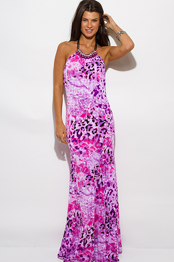 $30 - Cute cheap purple chiffon sun dress - lilac purple pink animal print halter bejeweled open back evening sexy party maxi dress