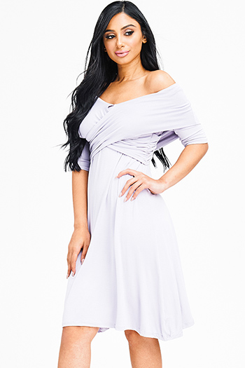 $12 - Cute cheap bejeweled cocktail dress - lilac purple rayon jersey wrap off shoulder half sleeve fit and flare sexy party mini dress