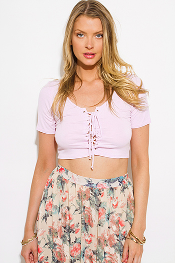 $8 - Cute cheap v neck sexy party crop top - lilac purple ribbed knit short sleeve laceup party crop top