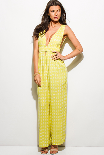 $20 - Cute cheap v neck fitted bodycon jumpsuit - lime green ethnic print low v neck cut out sleeveless boho evening wide leg jumpsuit