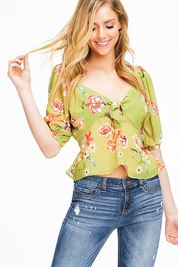 $10 - Cute cheap white boho crop top - Lime green floral print short sleeve tie front boho crop blouse top