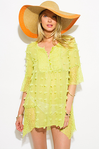 $20 - Cute cheap lace slit boho top - lime green sheer gauze pom pom textured boho beach cover up tunic top