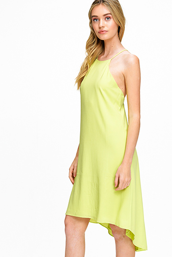 $20 - Cute cheap print pocketed dress - Lime green chiffon sleeveless halter high low hem ruffled criss cross back boho sexy party midi dress