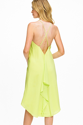 $15 - Cute cheap print wrap sun dress - Lime green chiffon sleeveless halter high low hem ruffled criss cross back boho sexy party midi dress