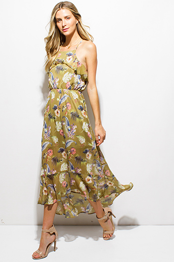 $25 - Cute cheap light mocha beige rayon jersey woven halter backless layered boho maxi sun dress - lime green tropical floral print ruffle tiered criss cross open back boho evening maxi sun dress