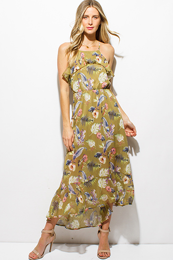 $25 - Cute cheap cotton boho sun dress - lime green tropical floral print ruffle tiered criss cross open back boho evening maxi sun dress