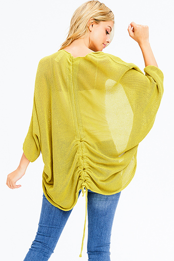 $15 - Cute cheap olive green long sleeve open twist front high low hem boho knit top - lime mustard green knit dolman sleeve ruched back boho shrug cardigan top