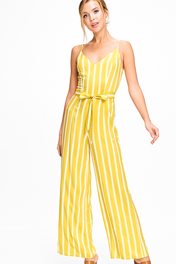 $15 - Cute cheap rust red bow strap sleeveless v neck slit wide leg boho culotte jumpsuit - Lime yellow striped sleeveless v neck high waisted belted wide leg boho jumpsuit