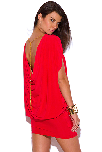 $25 - Cute cheap lipstick red grecian draped backless gold chian bejeweled cocktail party sexy club mini dress