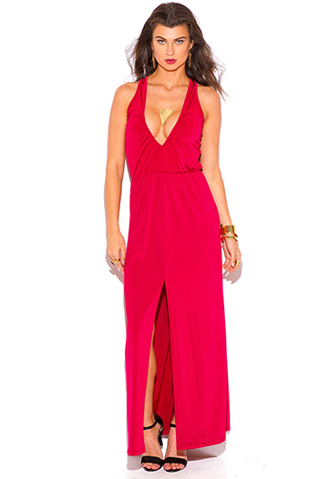 $15 - Cute cheap ruched dress - lipstick red ruched deep v neck high slit formal evening maxi dress