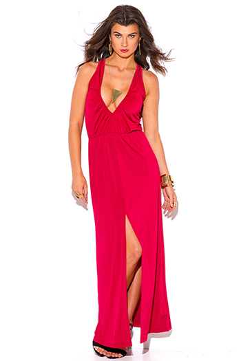 $15 - Cute cheap v neck open back evening dress - lipstick red ruched deep v neck high slit formal evening maxi dress