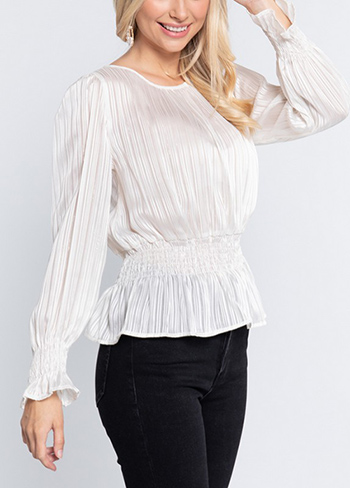 $15.75 - Cute cheap lon sleeve round neck lurex woven top