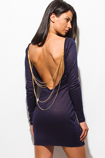 $20 - Cute cheap royal blue fitted party dress - midnight navy blue long sleeve backless bejeweled metallic fitted bodycon sexy club mini dress