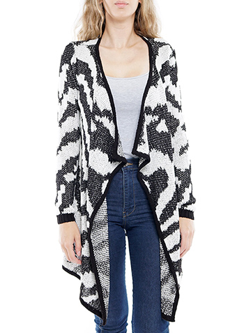$10.5 - Cute cheap long sleeve flare aztec open cardigan.