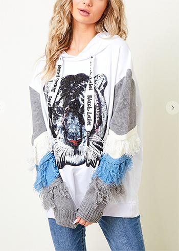$39.50 - Cute cheap ivory white sheer crochet knit long sleeve scallop hem hooded boho top - Long Sleeve Hooded Jacket with Tiger Sequence Patch  Thread trim on both sleeve
