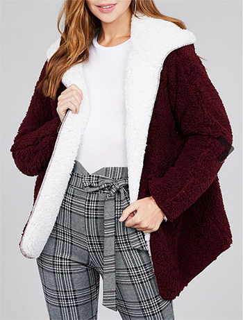 $29.50 - Cute cheap long sleeve open front with hoodie reversable faux fur soft fluffy jacket