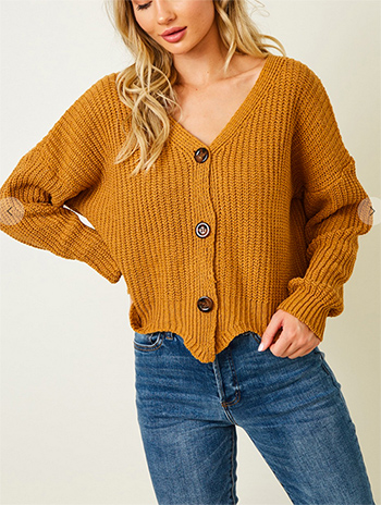 $17.50 - Cute cheap sweater top - long sleeve sweater with button