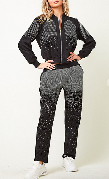 $37.50 - Cute cheap long sleeve zip front jacket and pants set with studst rim all over the jacket and pants
