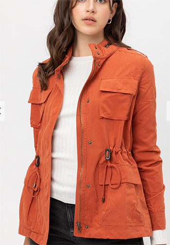$21.00 - Cute cheap clothes - Long Sleeves Front Zipper and Button Detail Jacket