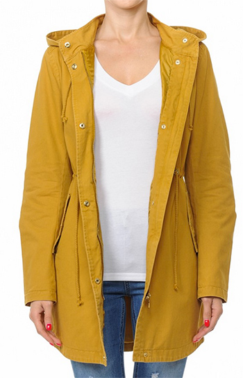 $28 - Cute cheap plum wine tencel long sleeve drawstring waisted button up zip up hooded anorak trench coat jacket - longline hooded anorak jacket